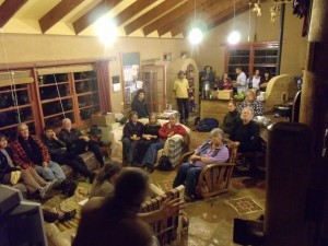 Gathered in the beautiful mud brick home of John & Sharron Champagne, Robert speaks to the TT group about food security